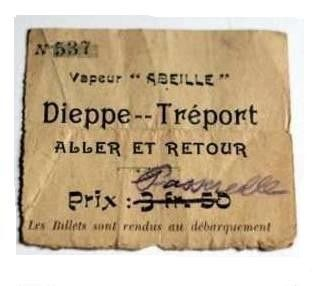 billet &quot;Dieppe-Le TREPORT du vapeur l'Abeille 